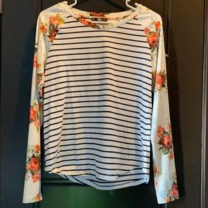 Floral and stripped baseball style long sleeve